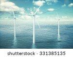 Wind Turbine Farm In The Ocean