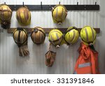 safety helmets and gloves hang... | Shutterstock . vector #331391846