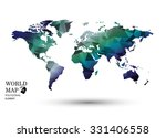 polygonal world map vector.   Shutterstock .eps vector #331406558