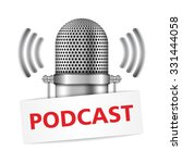 microphone with podcast banner  ... | Shutterstock .eps vector #331444058