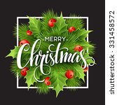 christmas decoration on chalk... | Shutterstock .eps vector #331458572
