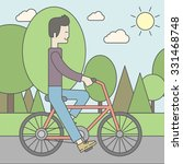 an asian man riding a bicycle... | Shutterstock .eps vector #331468748