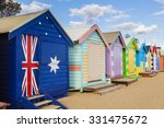 bathing boxes in a beach...   Shutterstock . vector #331475672