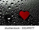 red paper heart with drops | Shutterstock . vector #33149077