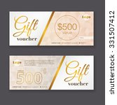 gift voucher template with gold ... | Shutterstock .eps vector #331507412