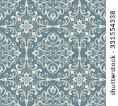 Seamless Damask Pattern In Blu...