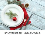 empty plate  cutlery  napkin... | Shutterstock . vector #331609316