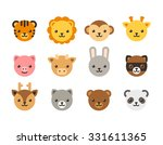 set of cute cartoon animal... | Shutterstock .eps vector #331611365