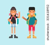two tourists with backpacks... | Shutterstock .eps vector #331618952