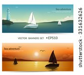 Vector Banners. Blue Sea  With...