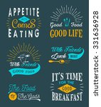 set of vintage food typographic ... | Shutterstock .eps vector #331636928