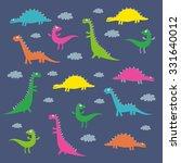 funny dinosaur vector pattern... | Shutterstock .eps vector #331640012