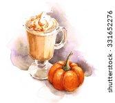 Watercolor Coffee Pumpkin Latt...