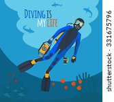 Diving Illustration. Diver...
