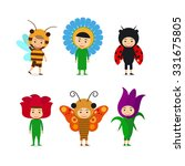kids in fancy insect and flower ... | Shutterstock .eps vector #331675805