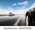 blurred car on icy road with sky | Shutterstock . vector #331692356