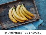 Ripe Yellow Bananas In Wicker...
