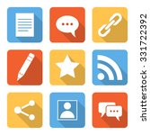 flat blog icons with long...
