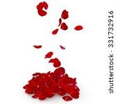 Petals Dark Red Rose Flying On...