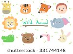 cute wild animal cartoon for... | Shutterstock .eps vector #331744148