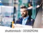 double exposure of a handsome... | Shutterstock . vector #331829246
