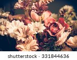 Stock photo close up colorful bunch of beautiful flowers vintage or retro tone 331844636
