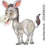cartoon funny donkey isolated