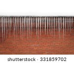 Pretty Icicles On Brick Wall...