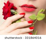 Red Rose  Red Manicure And Red...