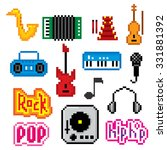 music icons set. pixel art. old ... | Shutterstock .eps vector #331881392