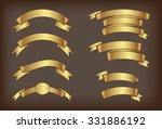 ribbon banner set.golden... | Shutterstock .eps vector #331886192