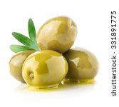 Green Olives   Oil Isolated On...