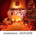 Room Christmas Tree Fireplace...
