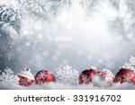 christmas balls in winter... | Shutterstock . vector #331916702