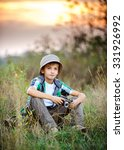 boy at sunset in panama sitting ... | Shutterstock . vector #331926992