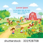 children and animals in the farm | Shutterstock .eps vector #331928708