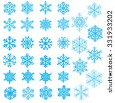set of light blue snowflakes on ... | Shutterstock . vector #331933202