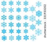 set of light blue snowflakes on ... | Shutterstock . vector #331933202