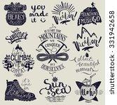 hiking lettering set. travel...   Shutterstock .eps vector #331942658