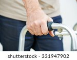 hand of senior man on a walker... | Shutterstock . vector #331947902
