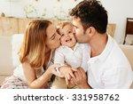 parents kissing their little... | Shutterstock . vector #331958762