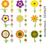 a collection of nine flower... | Shutterstock .eps vector #3319629