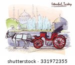horse drawn landau waiting for... | Shutterstock .eps vector #331972355