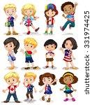 children from different...   Shutterstock .eps vector #331974425