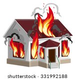 white stone house burns.... | Shutterstock .eps vector #331992188