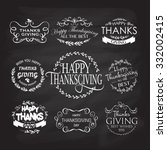 hand drawn happy thanksgiving... | Shutterstock .eps vector #332002415
