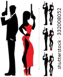 silhouettes of spy couple over... | Shutterstock .eps vector #332008052