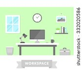 freelancer home workplace with... | Shutterstock .eps vector #332020586
