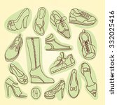 big set of different shoes.... | Shutterstock .eps vector #332025416