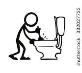 stick figure cleaning toilet   Shutterstock .eps vector #332027732